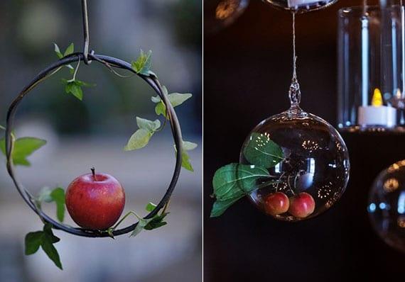 einfache und kreative bastelideen für DIY Apfel-Deko als gartendeko im herbst oder christbaumschmuck