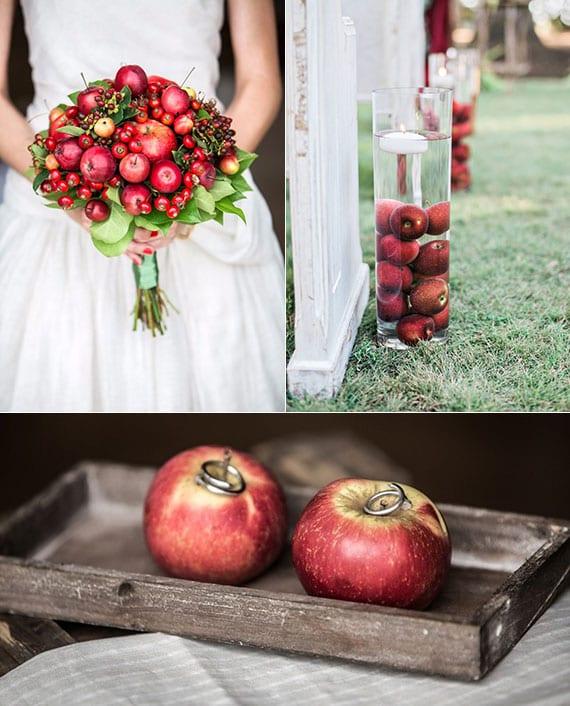 rustikale und kreative hochzeitsdeko ideen mit roten äpfeln