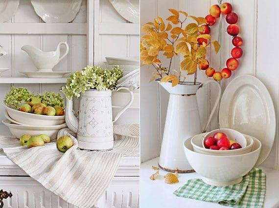 weiße Küche im rustikalen stil effektvol dekoreiren mit herbstblüten und äpfeln