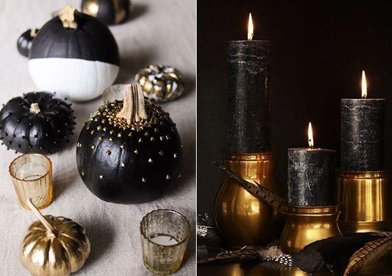 moderne kürbisdeko idee in schwarz und weiß und edle Tischdeko im herbst mit federn und schwarzen kerzen in goldenen kerzenhaltern