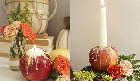 attraktive-herbstdeko-mit-kerzen-und-äpfeln