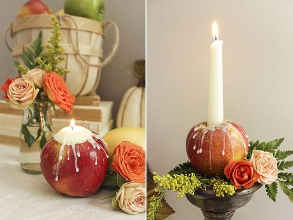 schicke und romantische tischdeko mit DIY Kerzenhaltern aus Äpfeln und mini-blumensträußen aus rosen und farn