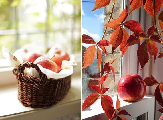 kreative fenster deko ideen mit roten äpfeln