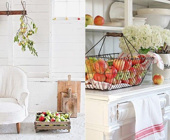 herbstdeko mit äpfeln für weiße interieure im landhausstil
