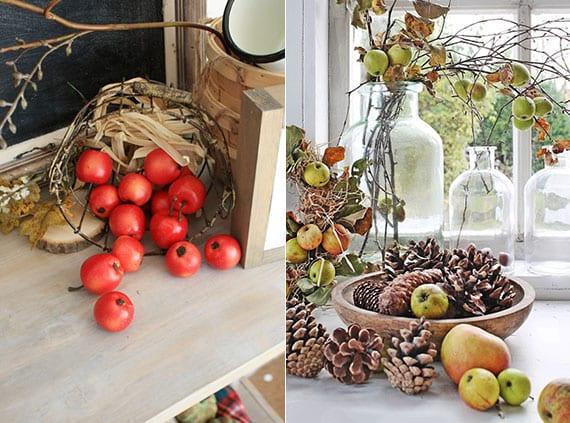tisch und fensterbank attraktiv dekorieren mit naturmaterialien und saisonfrüchten