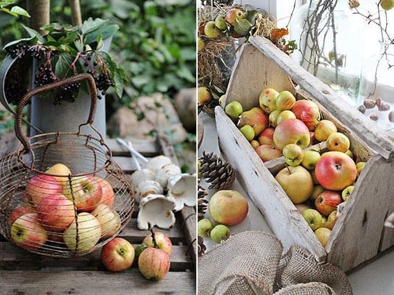 tolle herbstdeko inspirationen mit äpfeln in holzkiste oder in drahtkorb