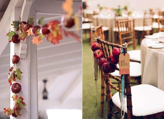 natürliche dekoration mit selbstgemachten girlanden aus roten äpfeln und laubblättern