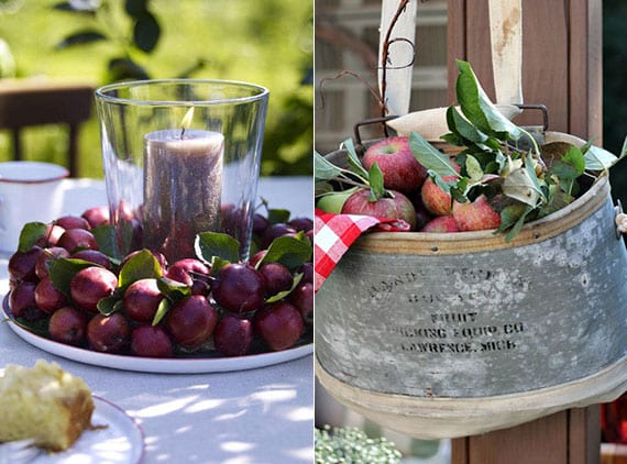 garten und terrasse im herbst dekorieren mit äpfeln