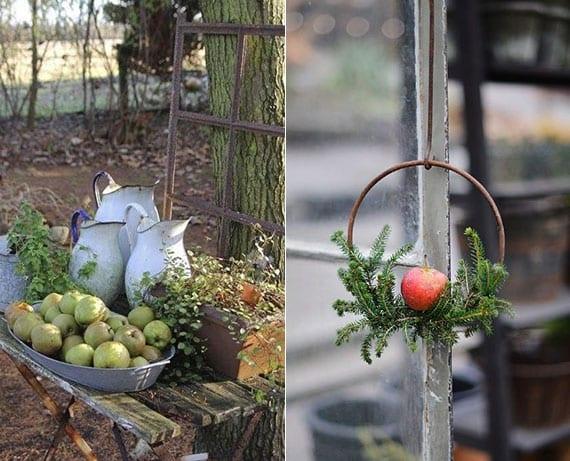außenbereich mit äpfeln verzieren