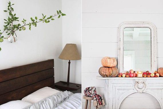 kreative zimmerdeko ideen mit apfelzweigen als wanddeko im schlafzimmer oder mit Kürbissen und Äpfeln als elegante Kamindeko im herbst