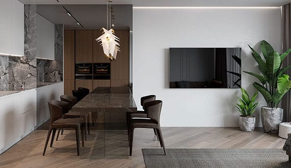 kreative-und-moderne-gestaltungsideen-für-TV-Wand-in-kleiner-wohnung-mit-koch–und-essbereich-im-wohnzimmer