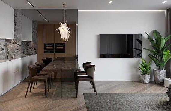 modernes interieur design und stilvolle einrichtung kleiner wohnzimmer mit parkettboden, weißer küche und moderner essgruppe vor spiegelwand