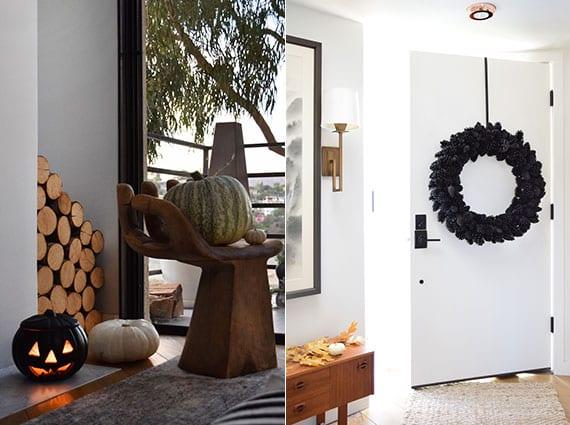 moderne halloween dekoration mit diy türkranz aus zapfen und einem Jack O'Lantern in schwarz für moderne interieure