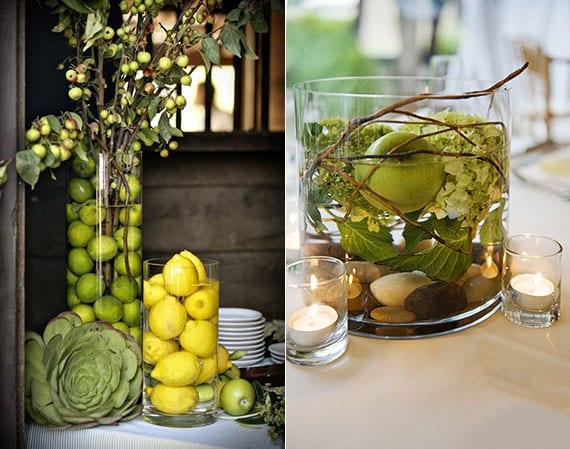 coole ideen für eine reizvolle DIY Tischdeko mit Äpfeln_farbenfrohe herbstdeko mit Zierapfelzweigen und Zitronen in glasvase
