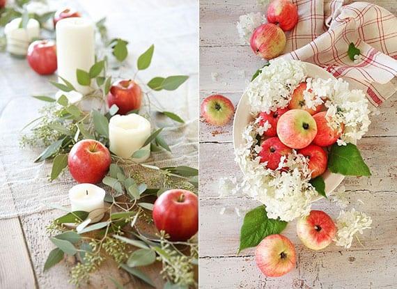 einfache und wirkungsvolle idee für festliche Tischdekoration mit roten öpfeln, weißen kerzen und eukalyptuszweigen