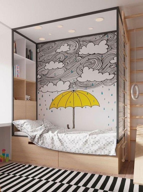 modernes kinderzimmer design im skandinavischem stil mit holzbett, einbauregal und kletterwand