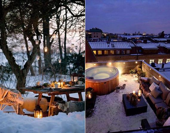 terrasse und garten in wintermärchen verwandeln dank romantischer beleuchtung mit laternen und lichterketten