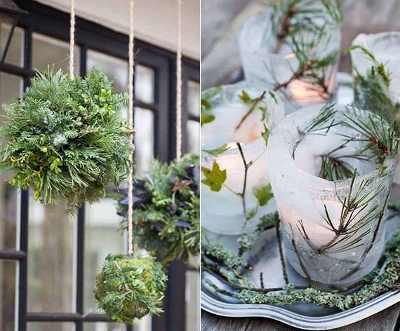 attraktive deko mit tannengrün selber machen_kreative dekoideen für den winter mit diy windlichter aus eis und diy kugeln aus tannengrün