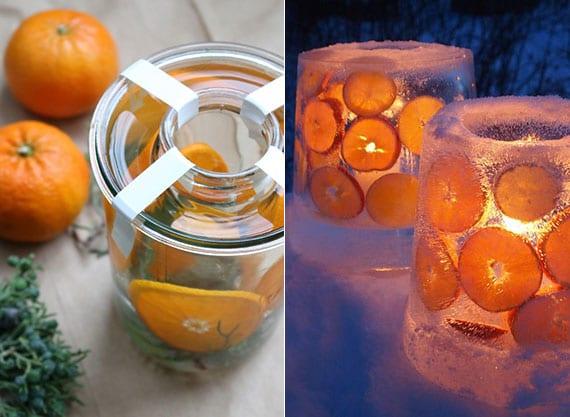 kreative gartendeko idee für den winter mit diy laternen und windlichtern aus eis und orangenscheiben