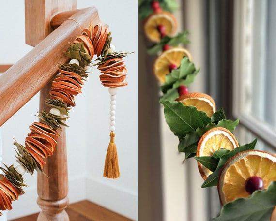 kreative bastelideen mit getrockneten orangenscheiben und grünen blättern für festliche dekoration mit diy girlande aus naturmaterialien