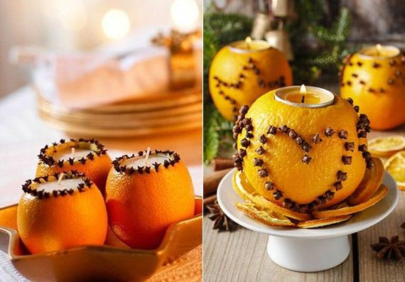 DIY Weihnachtsdeko für den tisch mit Teelichter und Kerzen aus orangen
