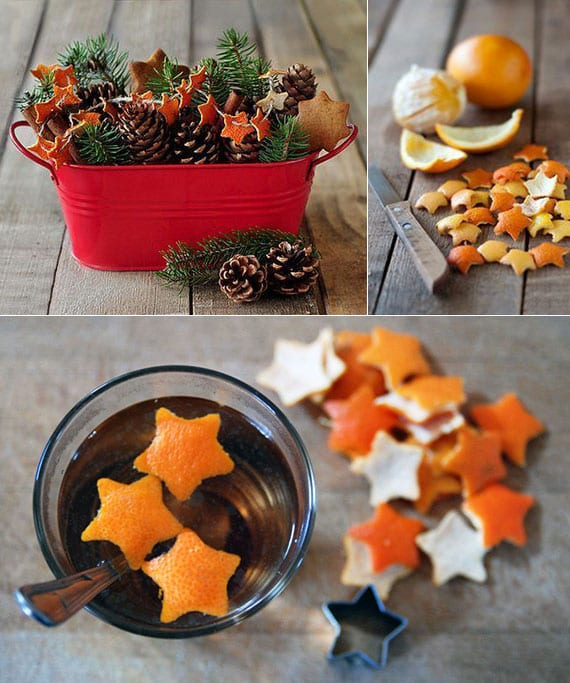 rustikale weihnachtsdeko selber machen mit tannengrün, zapfen und girlande aus orangenschale-sternen