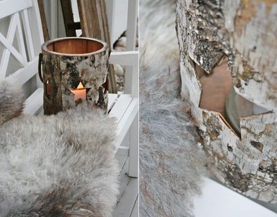 kreative bastelidee für diy winterlaterne aus dose und dekorativer holzrinde als coole winter dekoidee im rustikalen stil