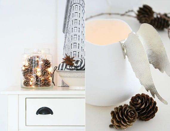 coole wohndeko ideen in weiß für eine natürliche winterdeko mit zapfen