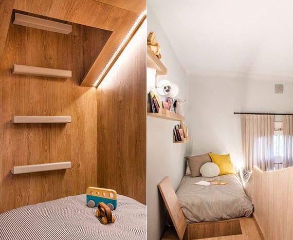 coole einrichtungsidee für kleine geschwister-kinderzimmer mit hochbett , stauraum und LED-beleuchtung