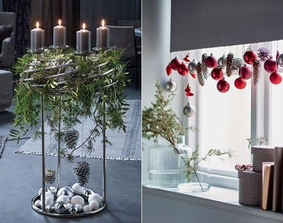 originelle weihnachtsdeko ideen mit zapfen und christbaumkugeln als attraktive fensterdeko und ergänzende deko zu einem adventskranz-ständer