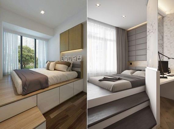 kleine schlafzimmer kreativ und modern einrichten mit einer matratze auf holzpodest mit stufen und schubladen