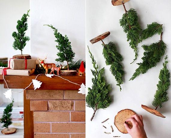 mini-tanenböume aus holzscheiben und tannengrün basteln als frische diy weihnachtsdeko