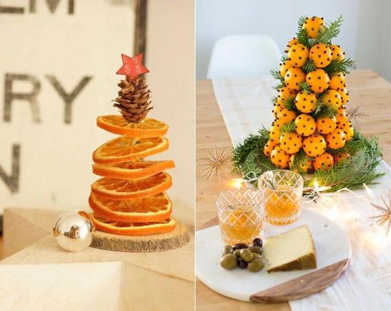 mini weihnachtsbaum selber machen aus orangen und orangenscheiben