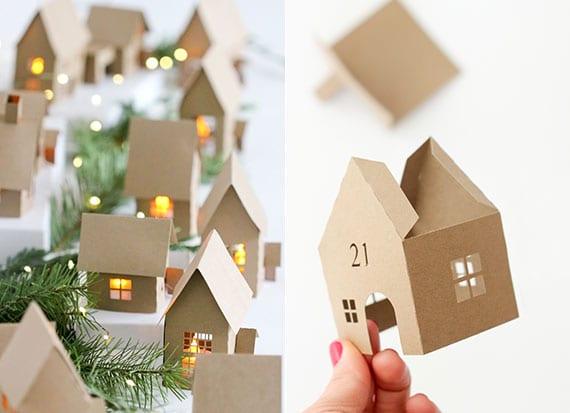 kreative DIY weihnachtsdeko idee mit kleinen haus-laternen aus papier