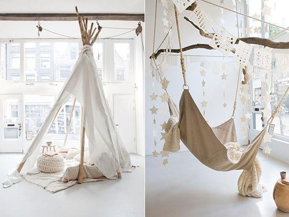 einrichtungsideen für traumkinderzimmer mit Hängesessel und DIY Zelt als gemütlicher rückzugsort