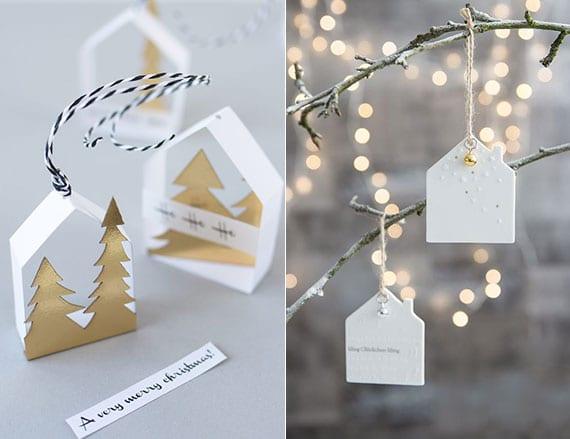 bastelidee für modernen DIY weihnachtsschmuck in weiß
