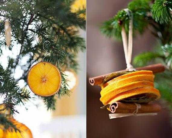 natürliche DIY weihnachtsdeko aus orangenscheiben und zimtstangen