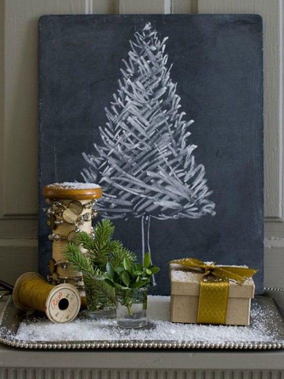 diy kreidetafel-weihnachtsbaum als rustikale windetr deko und coole alternative zu tannenbaum