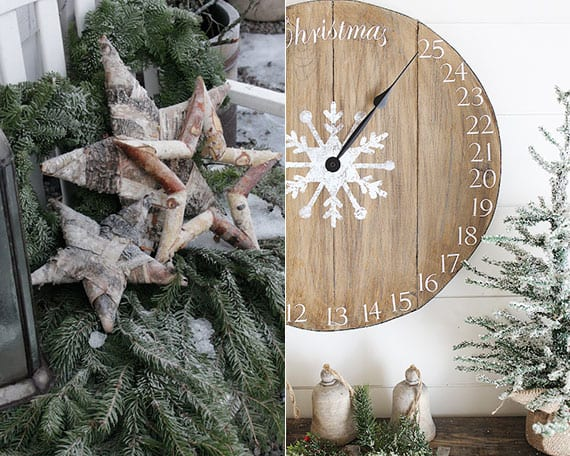 individuelle weihnachtsdeko selber machen naturmaterialien_bastelideen für DIY Wanduhr-Adventskalender und DIY winterdeko mit Sternen aus birkenholz