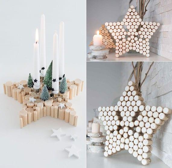diy weihnachtsdeko stern aus holzstäben und korken als tolle adventskranz alternative und coole winterdeko für kamin