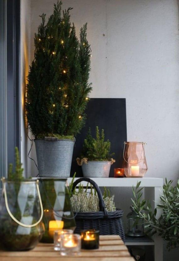 balkon und terrasse in winter als grüne Wohlfühloase gestalten mit zahlreichen immergrünen gewächsen in unterschiedlichen töpfen und einem kerzenmeer aus glaswindlichtern