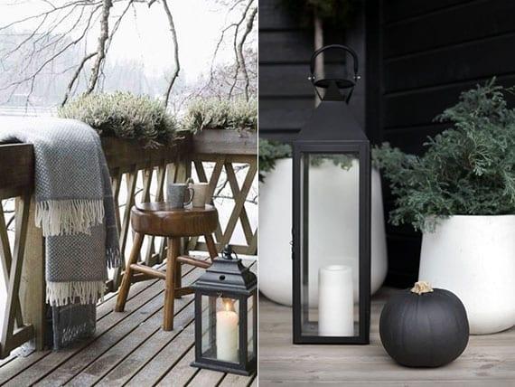 balkon und terrasse wohnlich gestalten mit winterharten pflanzen in töpfen, modernen laternen und einer kuscheldecke