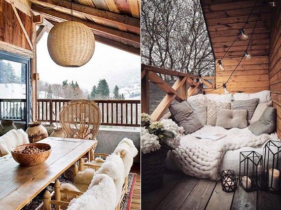 überdachte terrasse winterlich einrichten mit gestrickten decken, pelzen, laternen und holzmöbeln