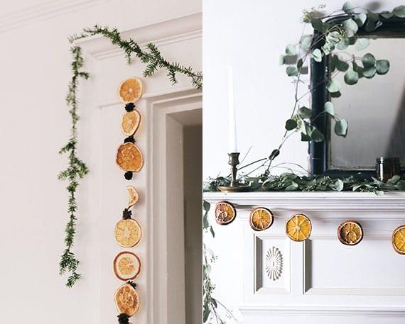 kamin und tür weihnachtlich dekorieren mit selbstgemachten girlanden aus orangenscheiben
