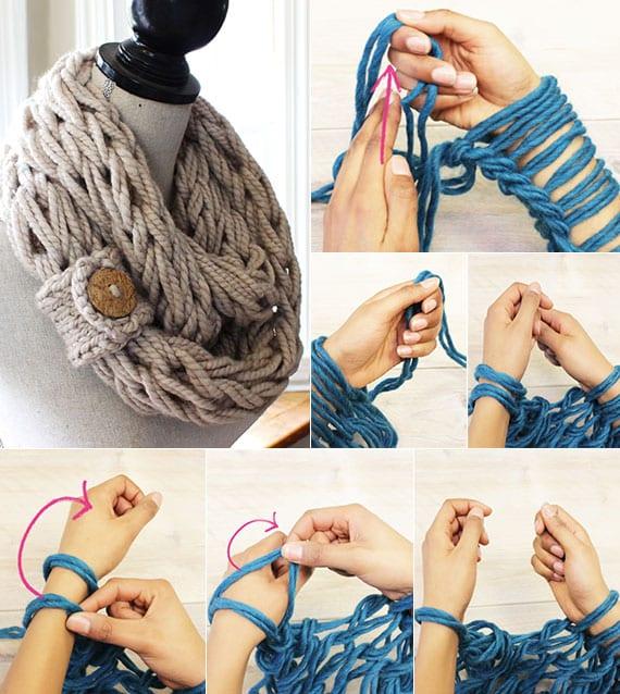 anleitung für diy Loopschal aus garn als kreatives DIY last minute weihnachtsgeschenk für frauen