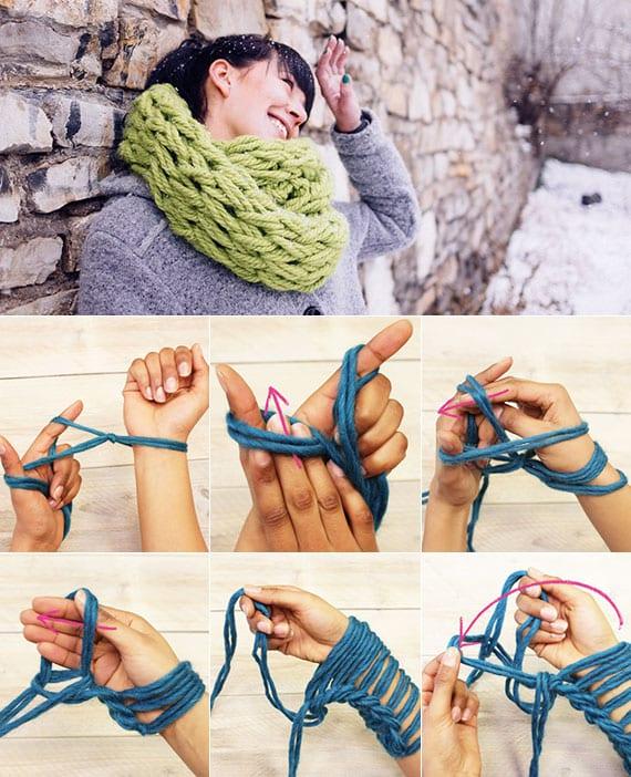 schöne loopschals als diy weinachtsgeschenk mit händen stricken