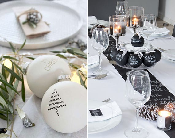 attraktive tischdeko ideen zu weihnachten mit schwarzen christbaumkigeln zum beschriften und weihnachtskugeln in matt weiß für romantische adventsdeko mit lichtern und olivenzweigen