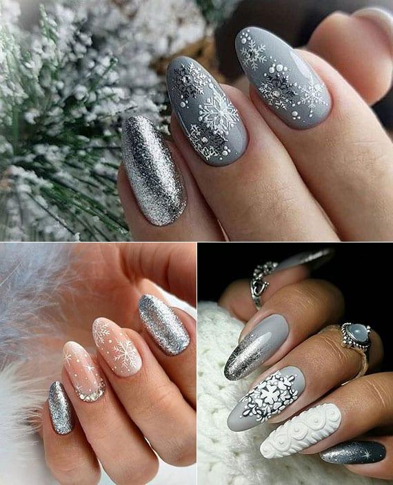 grau als trendfarbe für wintermaniküre mit schneeflocken und glitzer