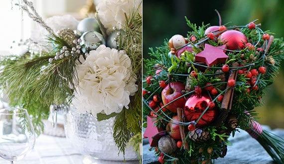 deko-ideen-mit-weihnachtlichem-gesteck-mit-weihnachtskugeln