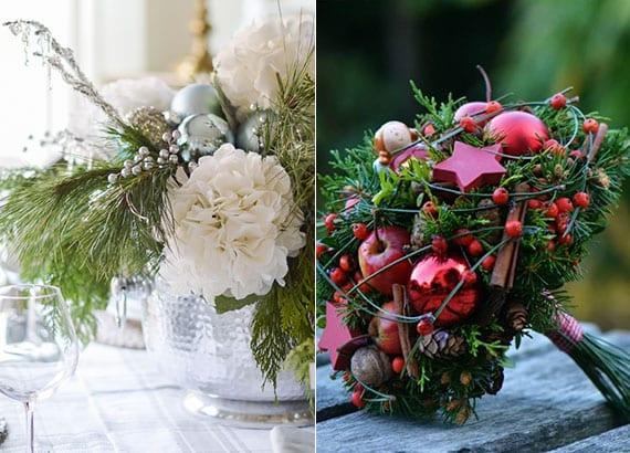 tisch weihnachtlich und elegant dekorieren mit wintergestecken
